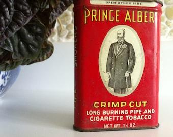 Vintage Prince Albert Crimp Cut Tin with Alabama Tobacco Tax Stamp