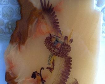 Hopi Kachina Art on Polished Quartz or Marble - Lowell Talashoma Sr. - signed