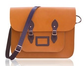 15-inch Tallboy British Vintage Style Satchel hand-crafted from Tan and Blue Leather