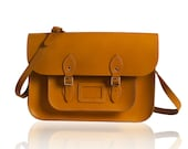 15-inch British Vintage Style Satchel hand-crafted from Autumn Tan Leather