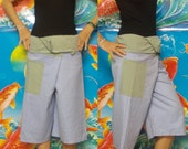 Baby Blue and Green 3/4 Leg  Thai Fisherman Pants Lovely--Patchwork.
