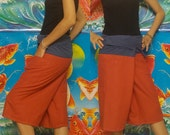 Pale Red and Steel Blue 3/4 Leg  Thai Fisherman Pants Lovely--Patchwork.