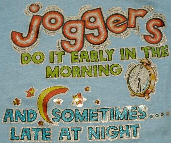Vintage 1970s Jogger Humor Novelty T Shirt Sexy Tee Slogan Light Blue