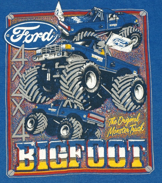 Vintage 1980s Big Foot Monster Truck T Shirt 50/50 Cotton Poly Soft Indie Shirt Blue