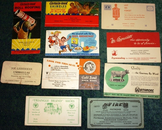 Lot of 10 Vintage Advertisement Cards 1930s 1940s Pre WWII Ephemera Advertising Maine