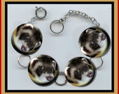 FERRET CUTE FACE Altered Art Button Charm Bracelet with Rhinestone