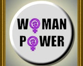 """WOMAN POWER FEMINISM Women's Equal Rights 2.25"""" Large Round Fridge Magnet"""