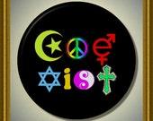 """COEXIST Peace Diversity Tolerance Multi Color 2.25"""" large Round Fridge Magnet"""