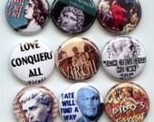 """VIRGIL Ancient Roman Poet 9 Pinback 1"""" Buttons Badges Pins"""