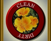 """CALIFORNIA Golden Poppy STATE FLOWER Dishwasher Clean/Dirty 2.25"""" large Round  Magnet"""