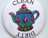 """TEAPOT Tea Pot Embroidered image Dishwasher Clean/Dirty 2.25"""" large Round  Magnet"""