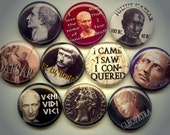"JULIUS CAESAR Ancient Rome Roman General Emperor 10 Pinback 1"" Buttons Badges Pins"