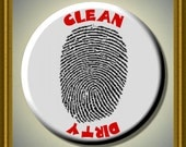"""Finger Print  Dishwasher Clean/Dirty 2.25"""" large Round  Magnet"""