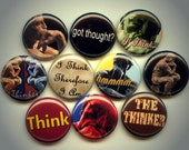 """THE THINKER Rodin 10 Pinback 1"""" Buttons Badges Pins"""