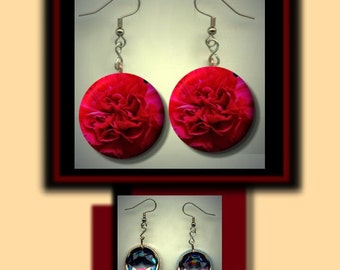 Ohio Scarlet Carnation State Flower Button Charm Dangle Earrings with Rhinestone