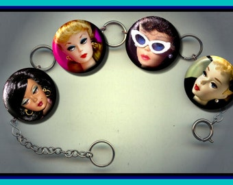 BARBIE Doll retro toy Altered Art Charm Bracelet with Rhinestone