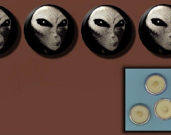 ALIEN GREY UFO Head Face Conspiracy Myth 4 Altered Art Sew-On Shank Buttons