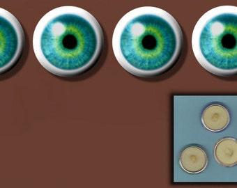 "BLUE EYEBALL Eyes  4 Altered Art 1"" Sew-On Shank Buttons"