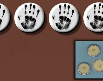 """HUMAN HAND PRINT Black & White Altered Art 1"""" Sew-On Shank Buttons"""