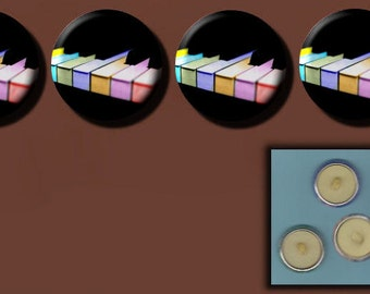 """PIANO KEYS KEYBOARD Rainbow Pianist 4 Altered Art 1"""" Sew-On Shank Buttons"""
