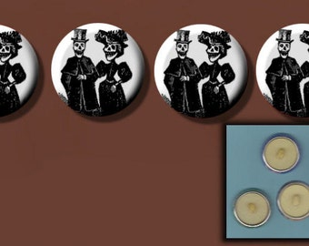 "DAY of the DEAD Bride n Groom SKELETONS Black n White 4 Altered Art 1"" Sew-On Shank Buttons"