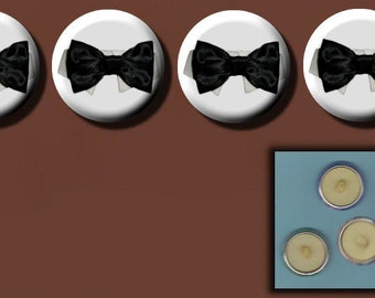 """BLACK BOW TIE 4 Altered Art 1"""" Sew-On Shank Buttons"""