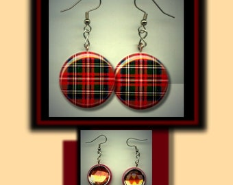 TARTAN PLAID Red & Green Pattern Altered Art Dangle Earrings with Rhinestone