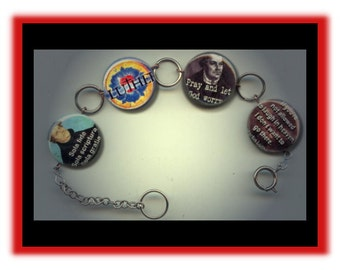 LUTHERAN Martin Luther Christian Altered Art Charm Bracelet with Rhinestone