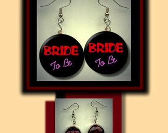 BRIDE to BE Wedding Bridal Party NEON Mod Altered art Dangle Earrings with Rhinestone