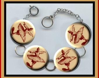 SUFI DANCER Dance Sufism Altered Art Button Charm Bracelet with Rhinestone