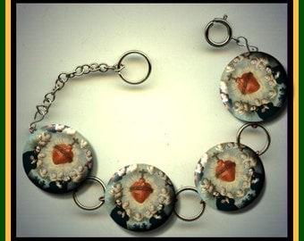 JESUIT SACRED HEART Symbol Altered Art Button Charm Bracelet with Rhinestone