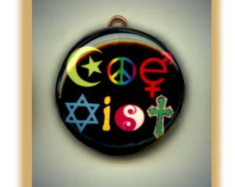 Coexist pendant etsy coexist rainbow diversity altered art charm pendant with rhinestone aloadofball Images