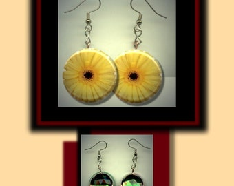 YELLOW GERBER DAISY Flower Altered Art Dangle Earrings with Rhinestone