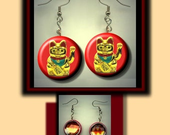 Chinese LUCKY MONEY CAT Good Luck Fortune Altered Art Dangle Earrings with Rhinestone