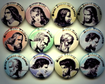 """THE APOSTLES Christian Bible 12 Pinback 1"""" Buttons Badges Pins"""