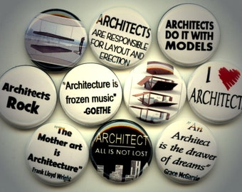 "ARCHITECT Architecture 10 Pinback 1"" Buttons Badges Pins"