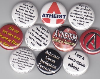 "ATHEISM ATHEIST 10 Pinback 1"" Buttons Badges Pins"