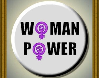 "WOMAN POWER FEMINISM Women's Equal Rights 2.25"" Large Round Fridge Magnet"