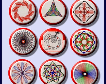 "SPIROGRAPH vintage Toy Designs 9 Pinback 1"" Buttons Badges Pins"