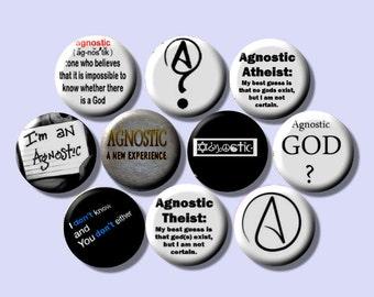 """AGNOSTIC AGNOSTICISM 10 Pinback 1"""" Buttons Badges Pins"""