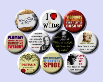 "WINE LOVER 10 Pinback 1"" Buttons Badges Pins"