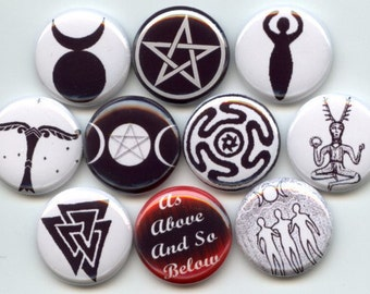 """WICCA Symbols Wiccan Pagan 10 Pinback 1"""" Buttons Badges Pins"""