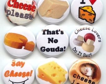 "I LOVE CHEESE 9 Pinback 1"" Buttons Badges Pins"