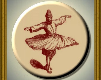 "SUFI DANCER SUFISM 2.25"" large Round Fridge Magnet"