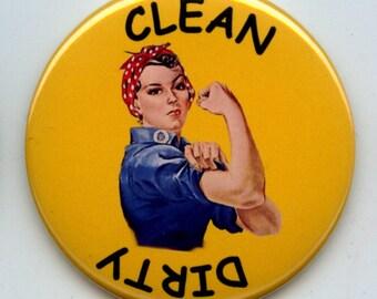 "ROSIE Feminist Feminism 2.25"" large Round DISHWASHER Clean/Dirty Magnet"