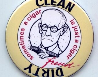 "SIGMUND FREUD Psychoanalysis Psychology Dishwasher Clean/Dirty 2.25"" large Round  Magnet"