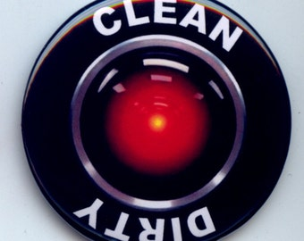 """HAL 9000 Computer Red Eye Dishwasher Clean/Dirty 2.25"""" large Round  Magnet"""