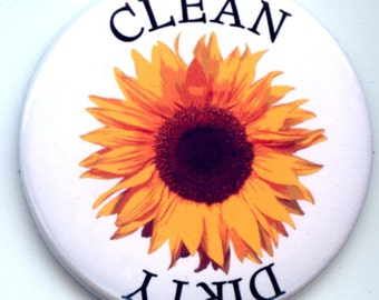 """SUNFLOWER Yellow Flower Dishwasher Clean/Dirty 2.25"""" large Round  Magnet"""