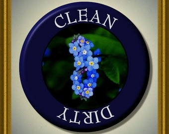 """ALASKA FORGET Me NOT State Flower Dishwasher Clean/Dirty 2.25"""" large Round  Magnet"""