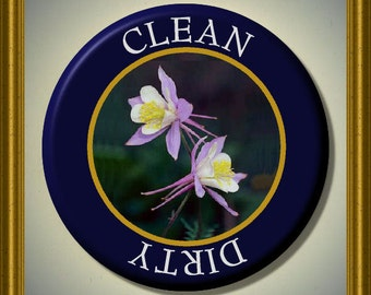"""COLORADO COLUMBINE State Flower Dishwasher Clean/Dirty 2.25"""" large Round  Magnet"""